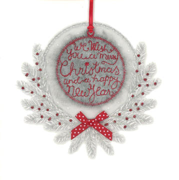 Grey Fluffy 'We Wish you a Merry Christmas' Bauble