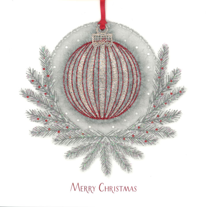 Photography of Stripey Bauble in a Fir Wreath