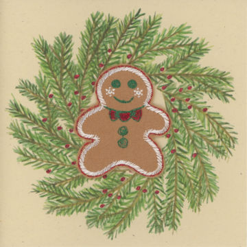 Gingerbread Man in a Rustic Wreath