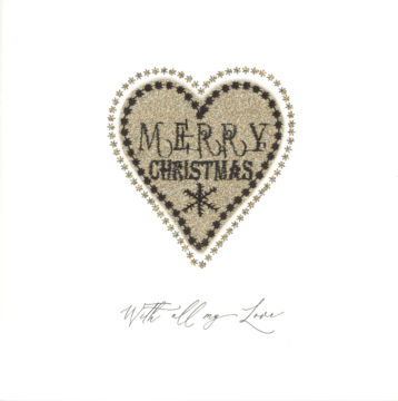 Gold Sparkling Glitter Merry Christmas Heart