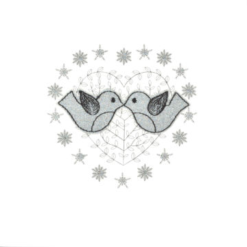 Silver Glitter Christmas Love Birds