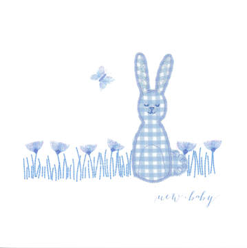 Blue Gingham Rabbit