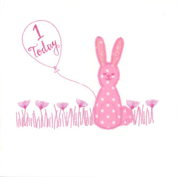 Pink Spotty Rabbit with balloon