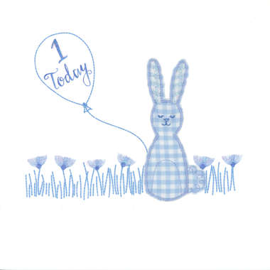 Photography of Blue Gingham Rabbit with balloon