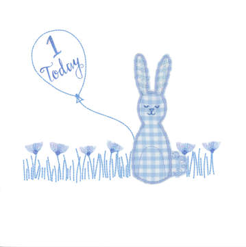 Blue Gingham Rabbit with balloon