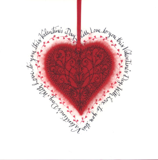 Valentine Red Calligraphic Heart
